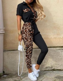 Summer Casual Leopard Jumpsuit with Belt