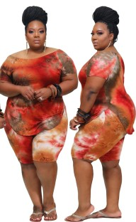 Plus Size Tie Dye Two Piece Shorts Set