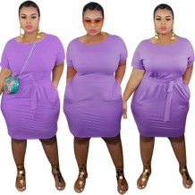 Plus Size Summer Plain Bodycon Dress with Belt