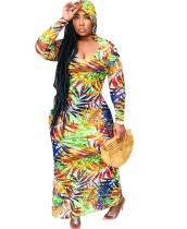 Autumn Print Hoodie Long Dress with Full Sleeves