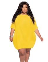 Vestido corto liso de verano talla grande