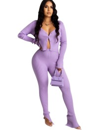 Autumn Purple Two Piece Knitted Pants Set