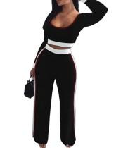 Осенний комплект из двух частей: укороченный топ и брюки