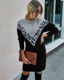 Autumn Contrast Round Neck Pullover Sweater Dress
