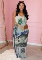 Summer Dollar Print Strap Long Dress