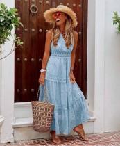 Sommer ärmelloses Print Boho Long Dress