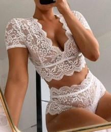 White Lace Sexy Top and Panty Set