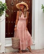 Vestido largo boho estampado sin mangas de verano