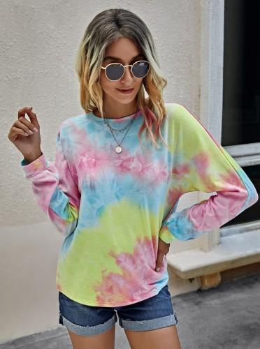 Chemise à col rond Tie Dye d'automne