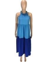 Summer A Line Contrast Halter Long Dress