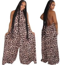 Sexy rückenfreier Leopard Wide Legges Jumpsuit