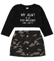 Детский осенний черный топ с камуфляжным принтом и мини-юбкой