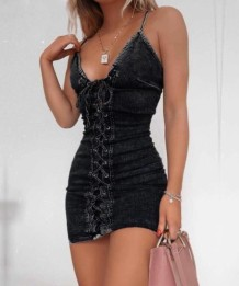 Summer Sexy Lace Up Straps Mini Denim Dress