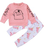 Set di pantaloni a due pezzi in cartone animato a maniche lunghe per bambina