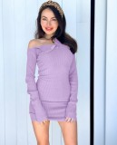 Uzun Kollu Sade Örme Mini Elbise