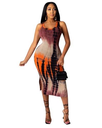 Robe débardeur longue fendue africaine tie-dye