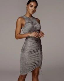 Sexy Sleeveless Ruched Gray Midi Dress
