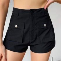 Casual Black High Waist Pocket Shorts