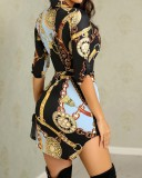 Chains Print Slit Blouse Dress with Sleeves
