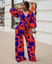 African Geommetric Wrapped Jumpsuit mit Pop-Ärmeln