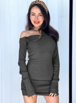 Effen mini-jurk met lange mouwen