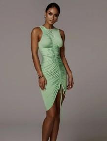 Sexy Sleeveless Ruched Green Midi Dress