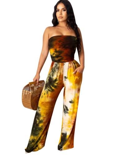 Combinaison sans bretelles africaine tie dye