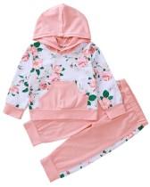 Kids Girl Langarm-Blumen-Hoody-Trainingsanzug