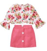 Crianças menina Outono Floral Top e Plain Mini Saia Set