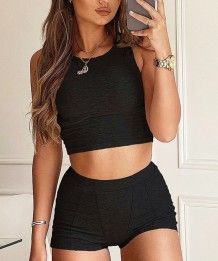 Sports Fitness Crop Top and Shorts Set