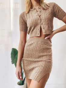Western Autumn Two Piece Knitted Skirt Set