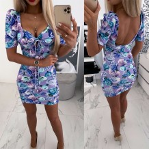 Low Back Sext Floral Square Mini Dress with Pop Sleeves