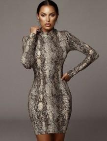 Long Sleeve Snake Skin Mini Club Dress