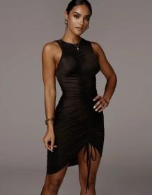 Sexy Sleeveless Ruched Black Midi Dress