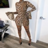 Long Sleeve Leopard Bodycon Dress with Wide Cuffs