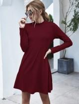 Autumn Plain A-Line Taschenhemd Kleid
