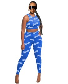 Summer Two Piece Bodycon Crop Top and Legging Set