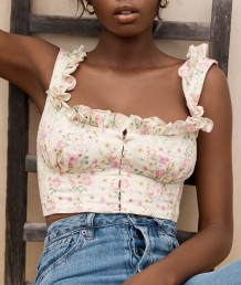 Summer Vintage Floral Sleeveless Ruffle Crop Top