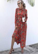 秋の花の襟ロングマキシドレス