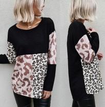 Autumn Round Neck Long Sleeve Leopard Shirt