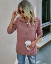 Autumn Plain Pocket Zipper Shirt