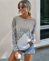 Autumn Contrast Round Neck Leopard Shirt