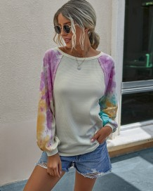 Camicia autunno collo colorante cravatta con maniche pop