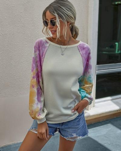 Chemise Automne Tie Dye à col rond et manches pop