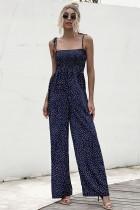 Summer Dot Jumpsuit mit hoher Taille und weitem Bein