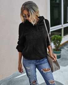 Autumn Plush Plain Hoodie Sweat Top