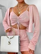 Conjunto de pantalones cortos y top corto sexy rosa de 3 piezas