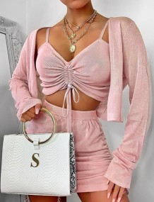 3PC Pink Sexy Crop Top and Shorts Set