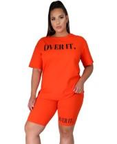 Plus Size Summer Print Zweiteiliges Casual Shorts Set