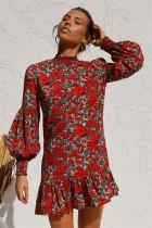 Pop kollu sonbahar çiçek fırfır kısa elbise